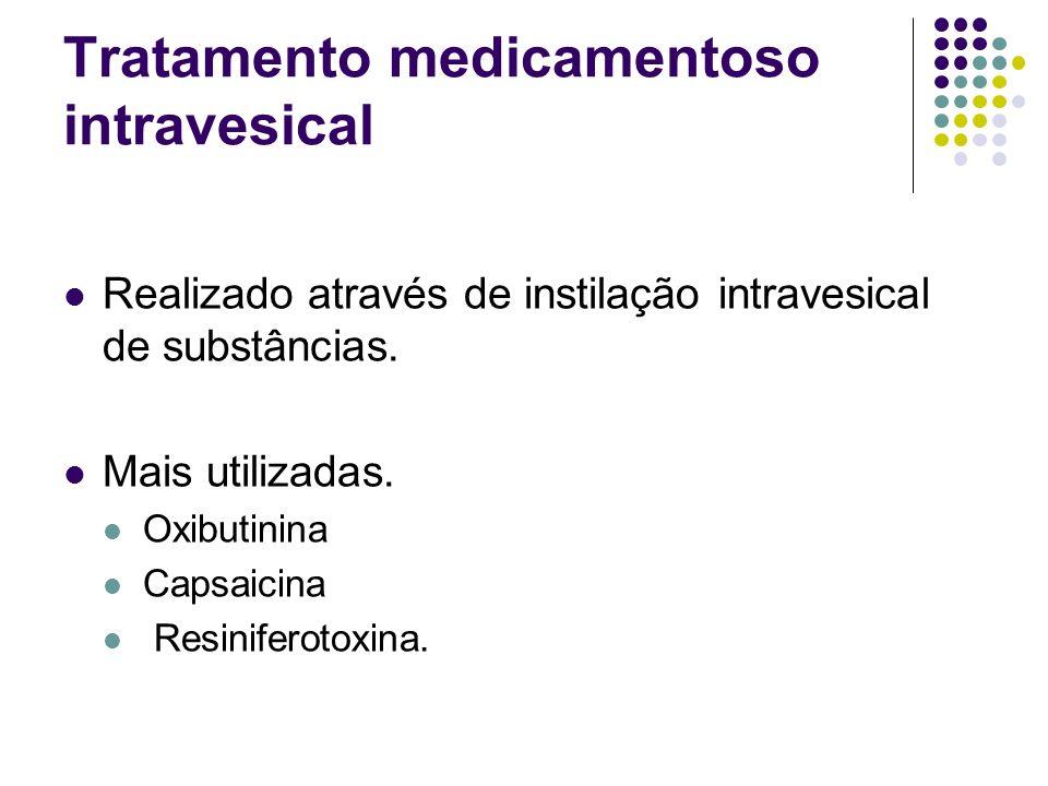 Tratamento medicamentoso intravesical Realizado através de instilação intravesical de substâncias. Mais utilizadas. Oxibutinina Capsaicina Resiniferot