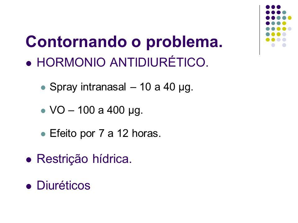 Contornando o problema. HORMONIO ANTIDIURÉTICO. Spray intranasal – 10 a 40 µg. VO – 100 a 400 µg. Efeito por 7 a 12 horas. Restrição hídrica. Diurétic