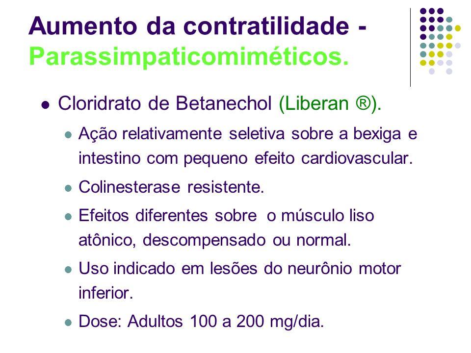Aumento da contratilidade - Parassimpaticomiméticos. Cloridrato de Betanechol (Liberan ®). Ação relativamente seletiva sobre a bexiga e intestino com