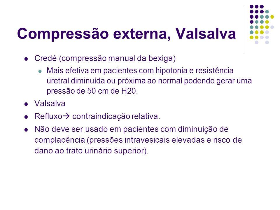 Compressão externa, Valsalva Credé (compressão manual da bexiga) Mais efetiva em pacientes com hipotonia e resistência uretral diminuída ou próxima ao