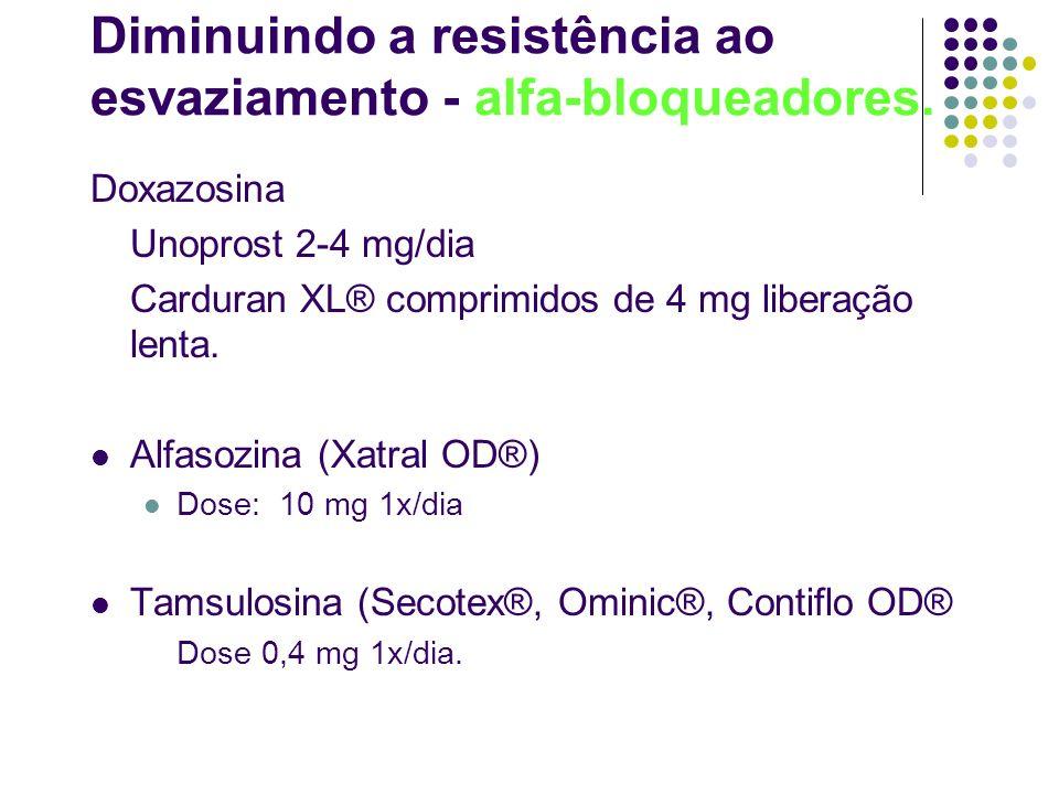 Diminuindo a resistência ao esvaziamento - alfa-bloqueadores. Doxazosina Unoprost 2-4 mg/dia Carduran XL® comprimidos de 4 mg liberação lenta. Alfasoz