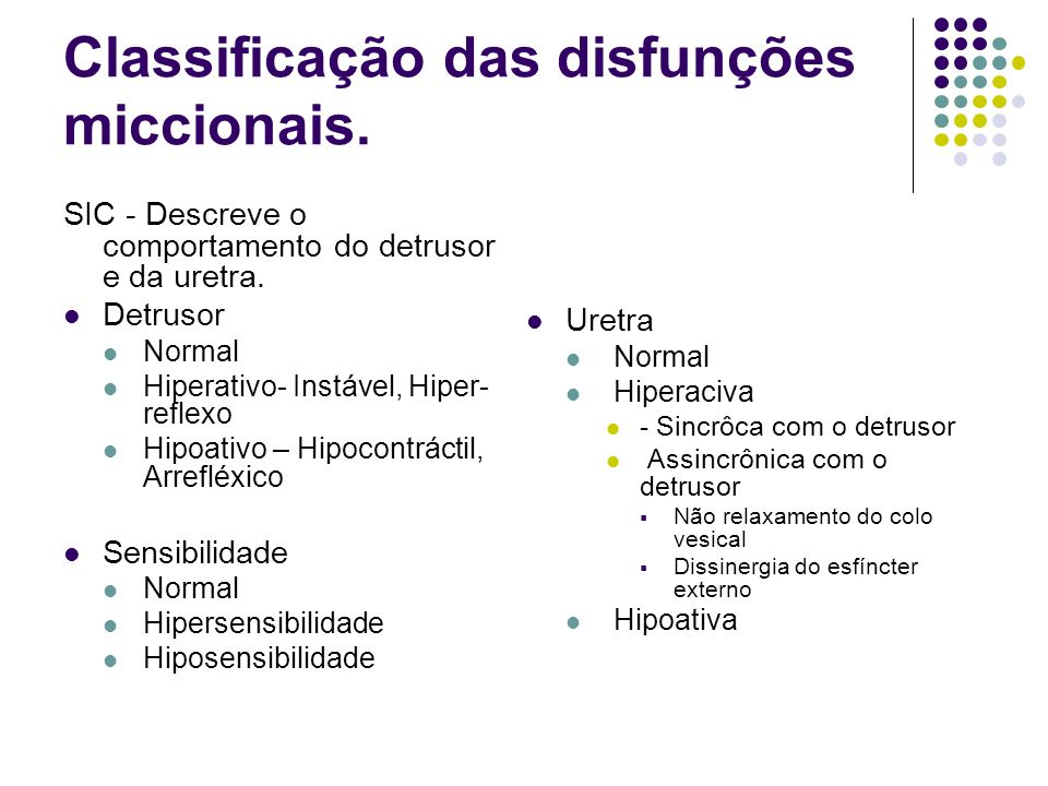 Classificação das disfunções miccionais. SIC - Descreve o comportamento do detrusor e da uretra. Detrusor Normal Hiperativo- Instável, Hiper- reflexo