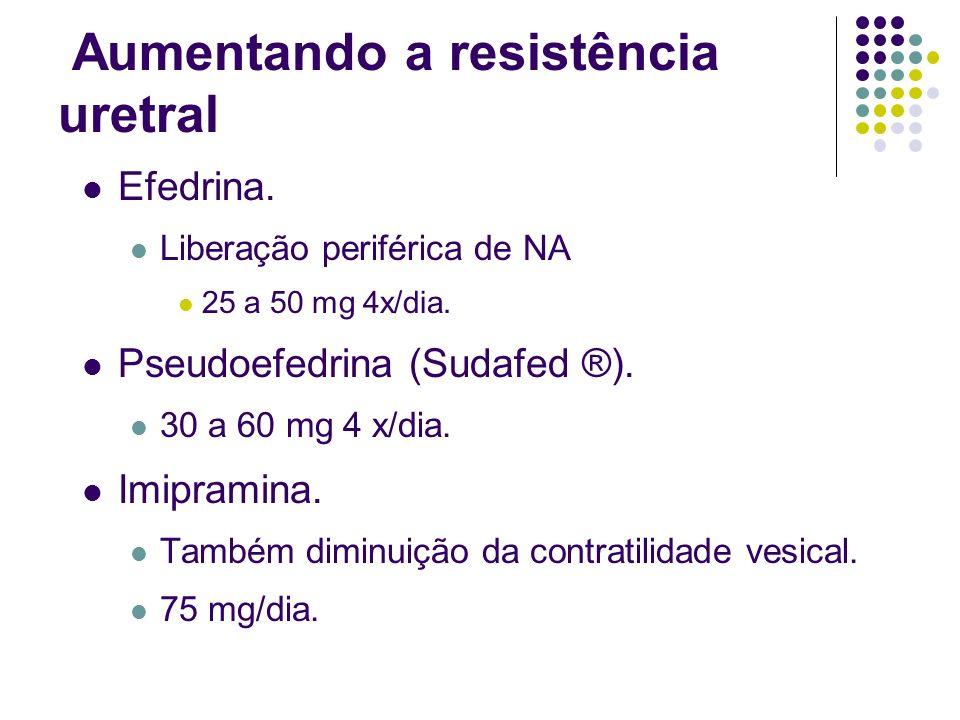 Aumentando a resistência uretral Efedrina. Liberação periférica de NA 25 a 50 mg 4x/dia. Pseudoefedrina (Sudafed ®). 30 a 60 mg 4 x/dia. Imipramina. T