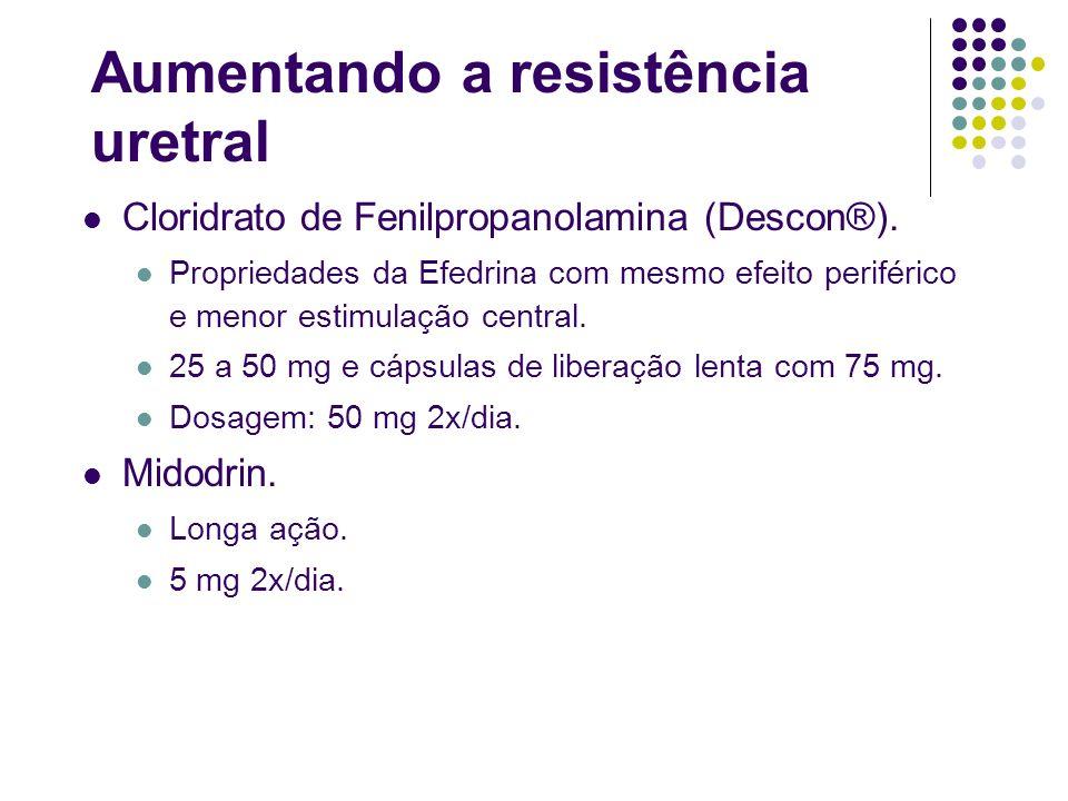 Aumentando a resistência uretral Cloridrato de Fenilpropanolamina (Descon®). Propriedades da Efedrina com mesmo efeito periférico e menor estimulação