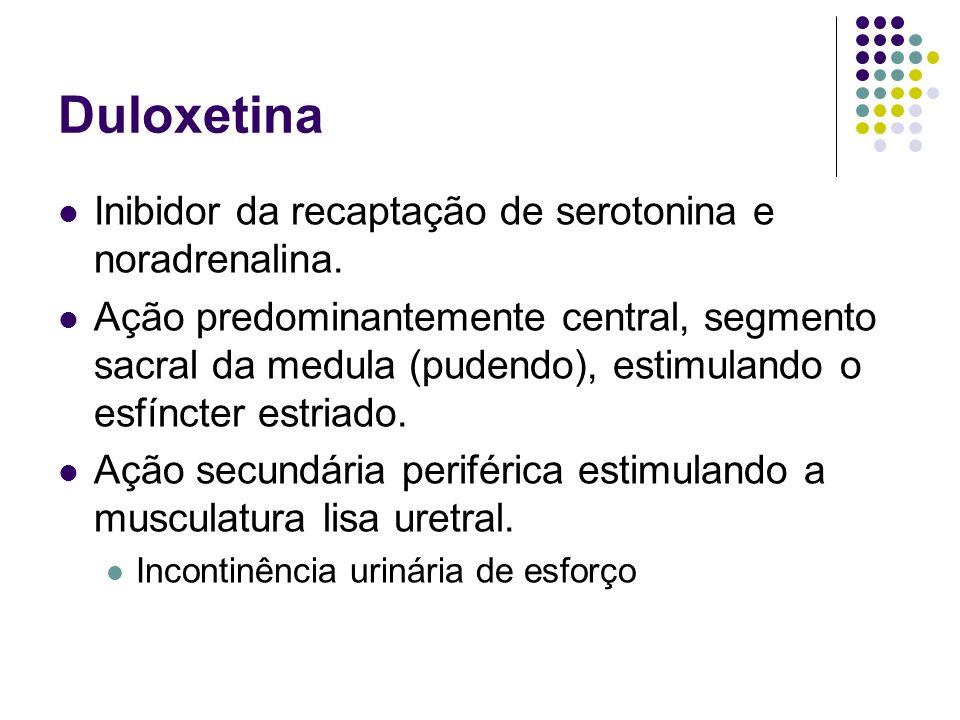 Duloxetina Inibidor da recaptação de serotonina e noradrenalina. Ação predominantemente central, segmento sacral da medula (pudendo), estimulando o es
