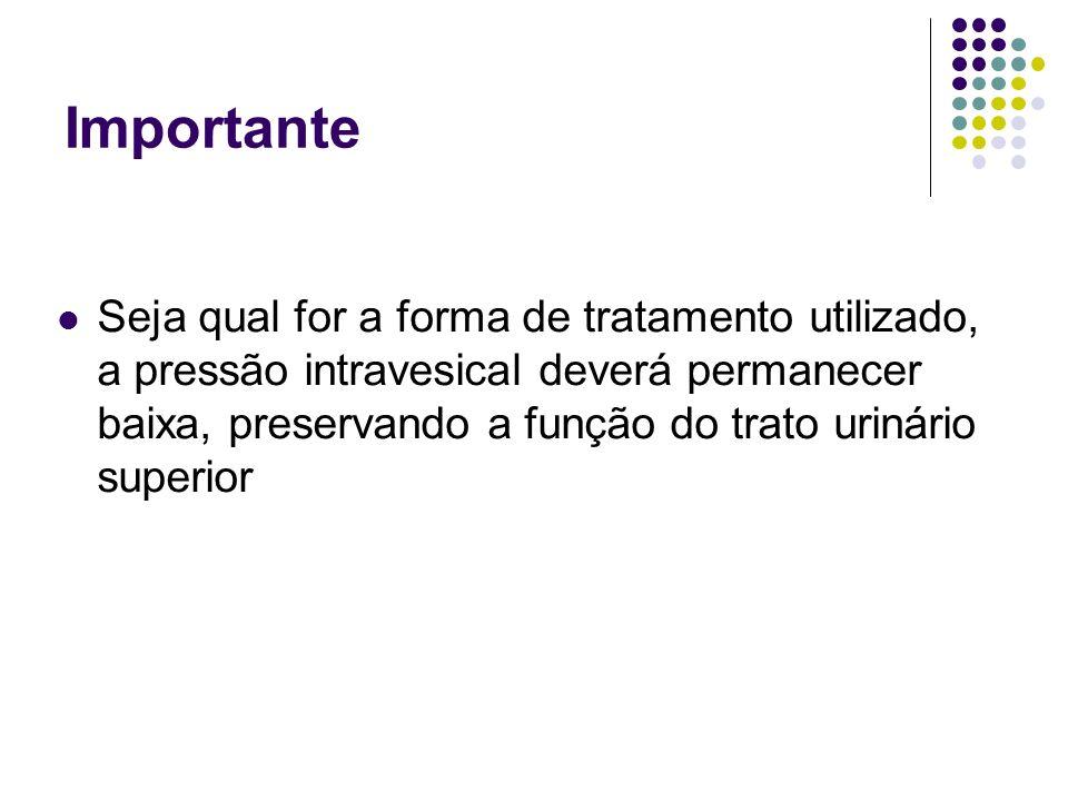 Importante Seja qual for a forma de tratamento utilizado, a pressão intravesical deverá permanecer baixa, preservando a função do trato urinário super