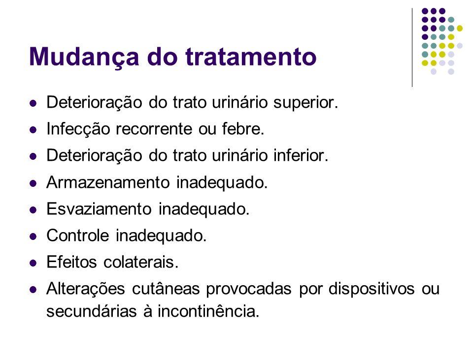 Mudança do tratamento Deterioração do trato urinário superior. Infecção recorrente ou febre. Deterioração do trato urinário inferior. Armazenamento in