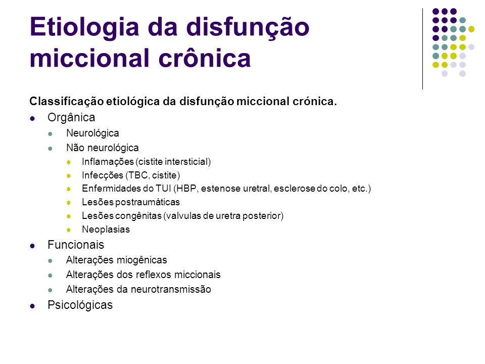 Etiologia da disfunção miccional crônica Classificação etiológica da disfunção miccional crónica. Orgânica Neurológica Não neurológica Inflamações (ci