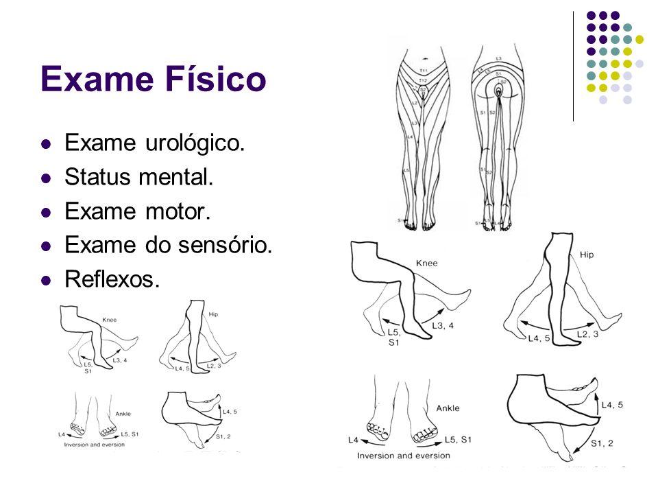 Exame Físico Exame urológico. Status mental. Exame motor. Exame do sensório. Reflexos.