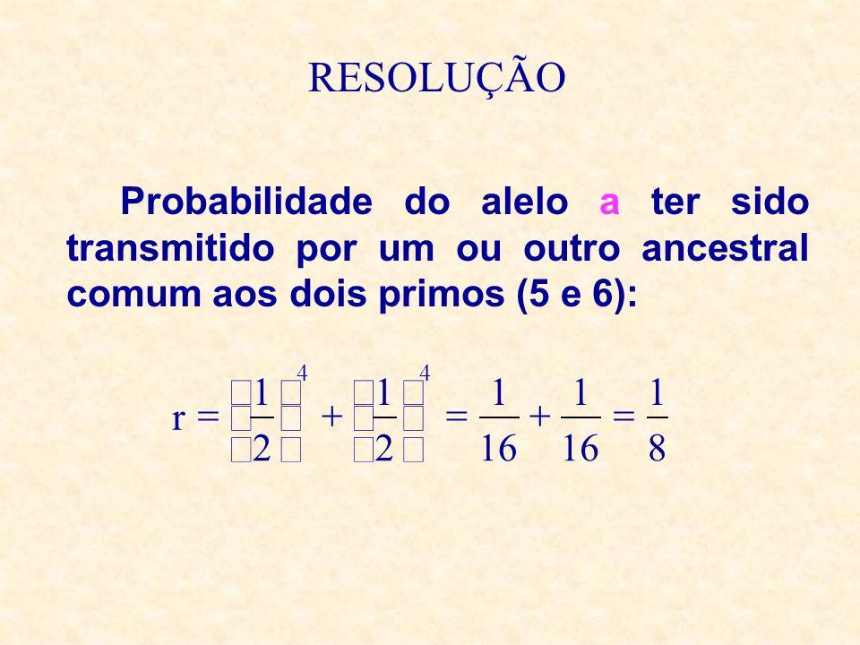 RESOLUÇÃO Probabilidade do alelo a ter sido transmitido por um ou outro ancestral comum aos dois primos (5 e 6): 8 1 16 1 1 2 1 2 1 r 44