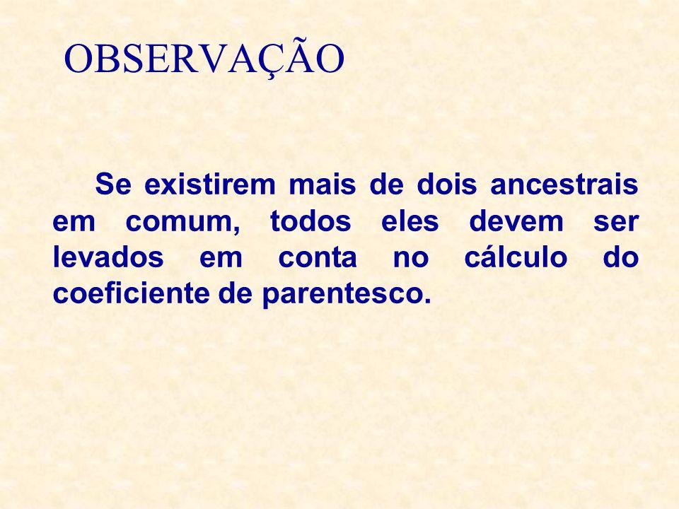 OBSERVAÇÃO Se existirem mais de dois ancestrais em comum, todos eles devem ser levados em conta no cálculo do coeficiente de parentesco.