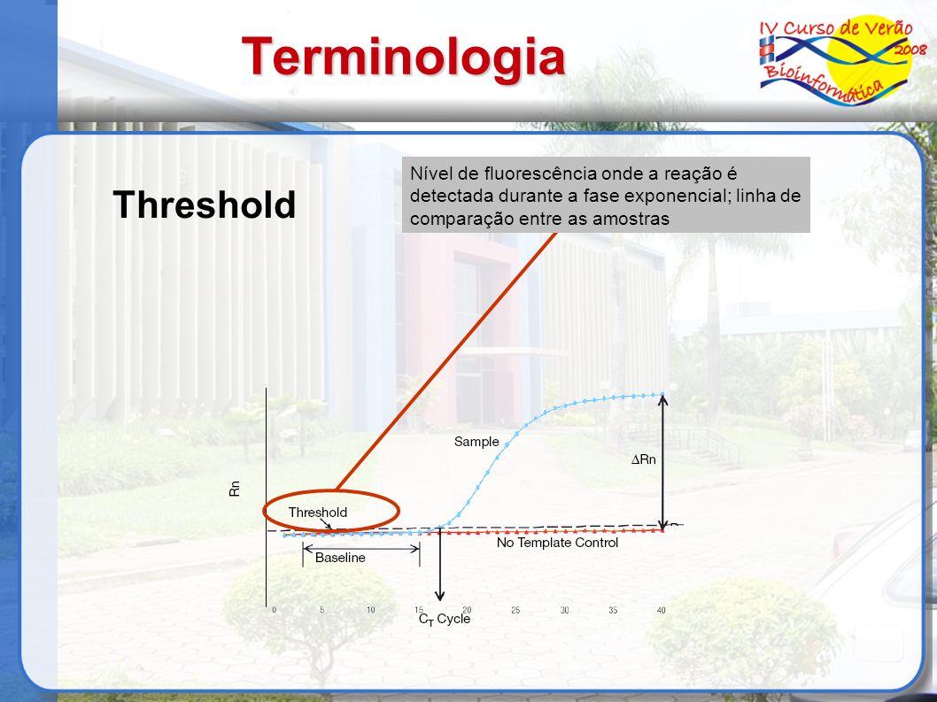 Terminologia Threshold Nível de fluorescência onde a reação é detectada durante a fase exponencial; linha de comparação entre as amostras
