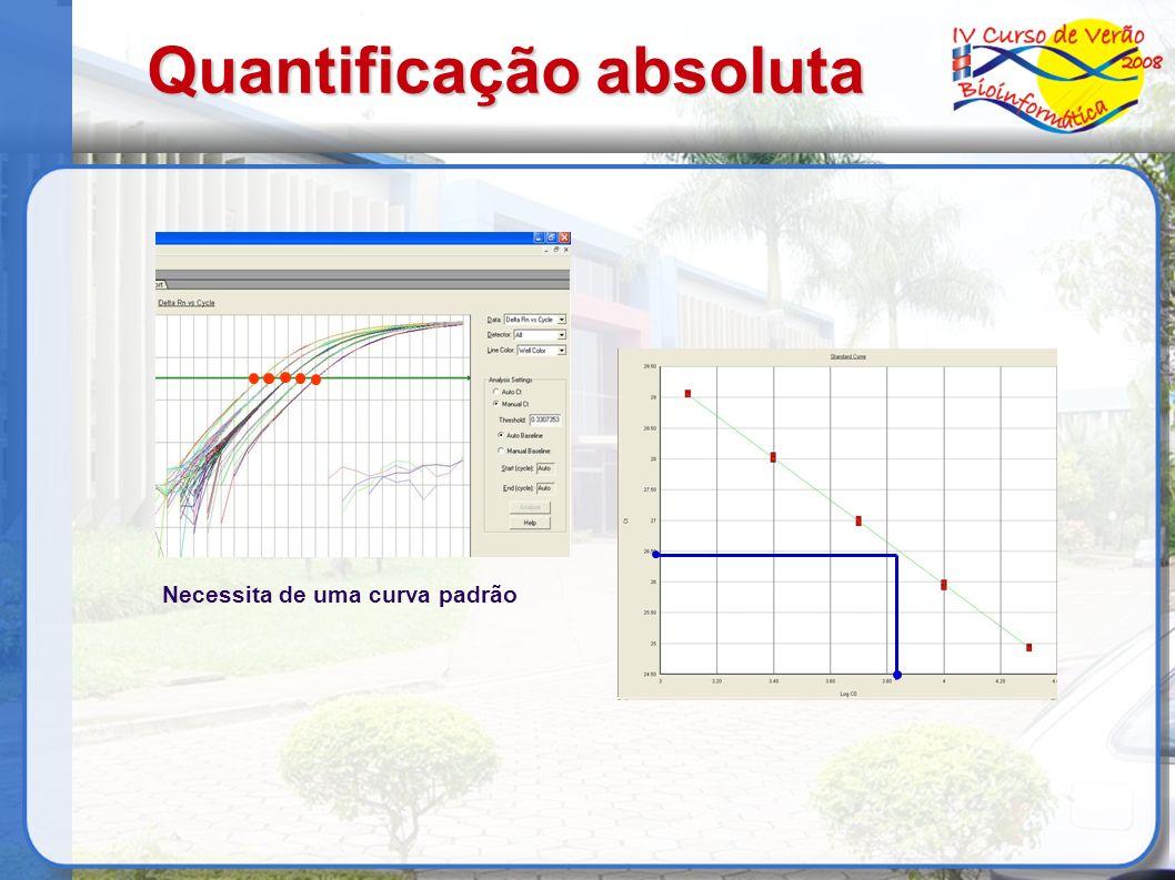Quantificação absoluta Necessita de uma curva padrão