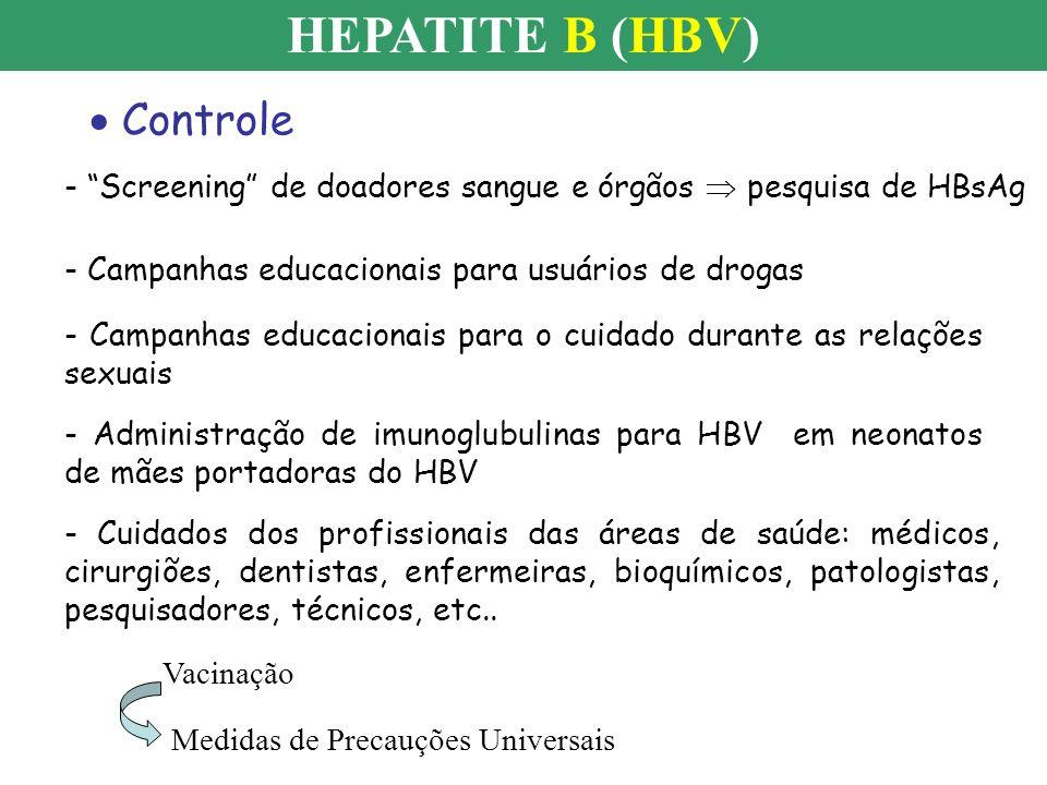 HEPATITE B (HBV) Controle - Screening de doadores sangue e órgãos pesquisa de HBsAg - Campanhas educacionais para usuários de drogas - Campanhas educa