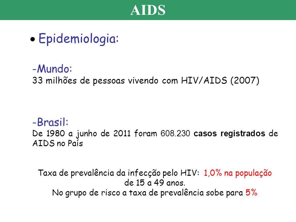 AIDS Epidemiologia: -Mundo: 33 milhões de pessoas vivendo com HIV/AIDS (2007) -Brasil: De 1980 a junho de 2011 foram 608.230 casos registrados de AIDS