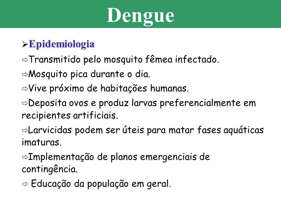 Epidemiologia Epidemiologia Transmitido pelo mosquito fêmea infectado. Mosquito pica durante o dia. Vive próximo de habitações humanas. Deposita ovos