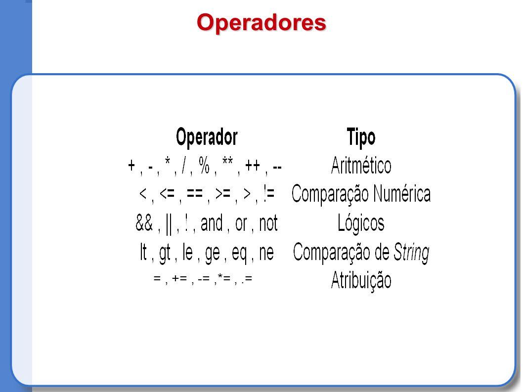 Operadores =, +=, -=,*=,.=