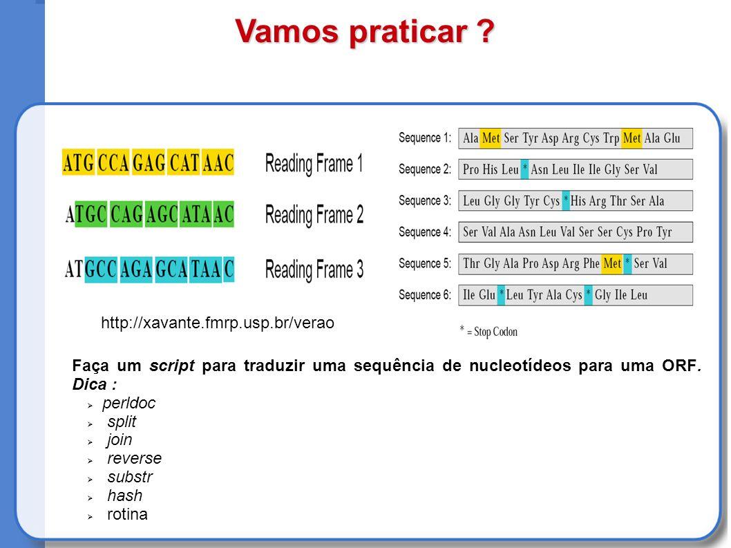 Faça um script para traduzir uma sequência de nucleotídeos para uma ORF.