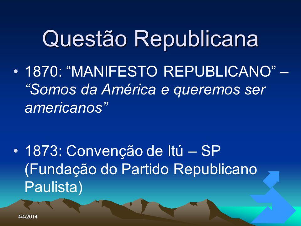 4/4/20145 Questão Republicana 1870: MANIFESTO REPUBLICANO – Somos da América e queremos ser americanos 1873: Convenção de Itú – SP (Fundação do Partid