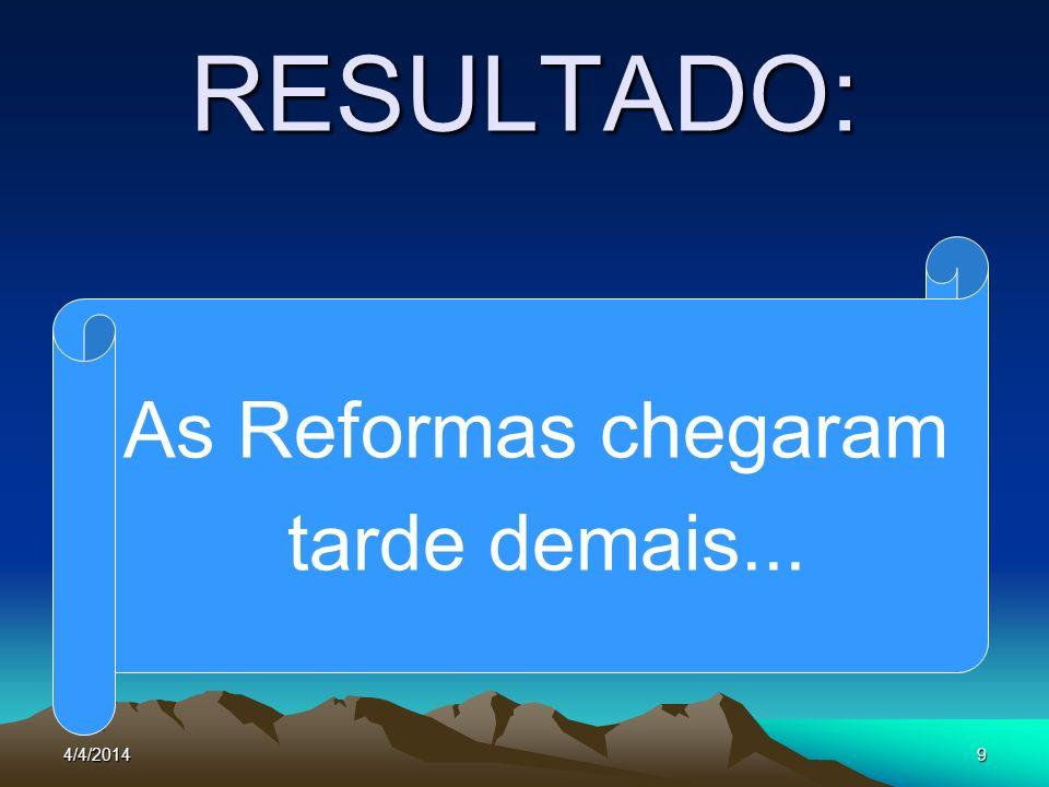 4/4/20149 RESULTADO: As Reformas chegaram tarde demais...