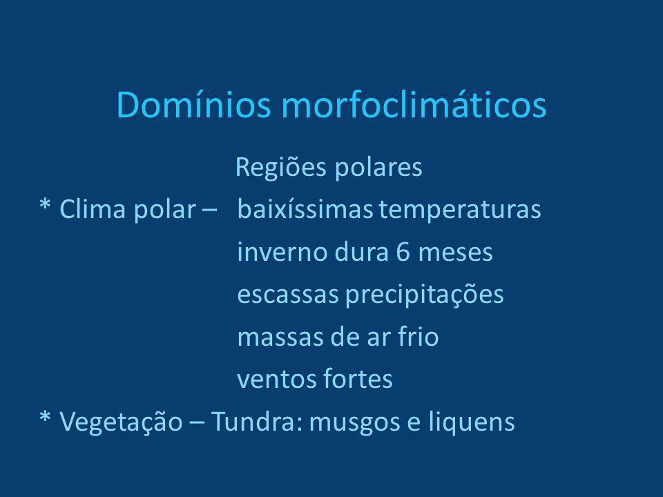 Domínios morfoclimáticos Regiões polares * Clima polar – baixíssimas temperaturas inverno dura 6 meses escassas precipitações massas de ar frio ventos