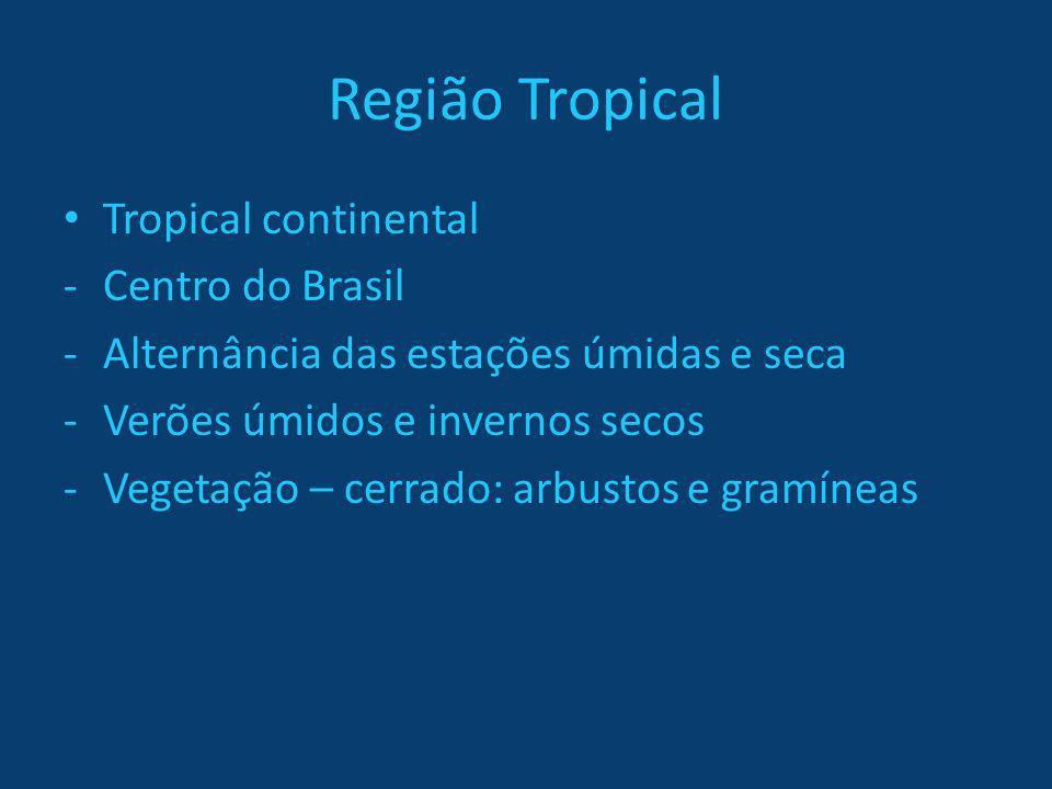 Região Tropical Tropical continental -Centro do Brasil -Alternância das estações úmidas e seca -Verões úmidos e invernos secos -Vegetação – cerrado: a
