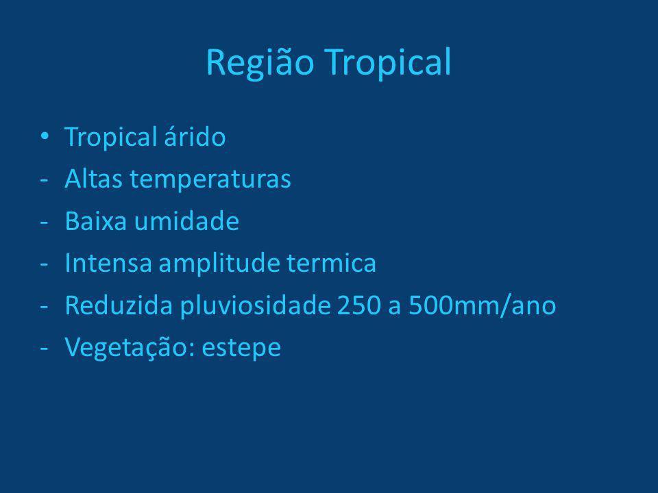 Região Tropical Tropical árido -Altas temperaturas -Baixa umidade -Intensa amplitude termica -Reduzida pluviosidade 250 a 500mm/ano -Vegetação: estepe