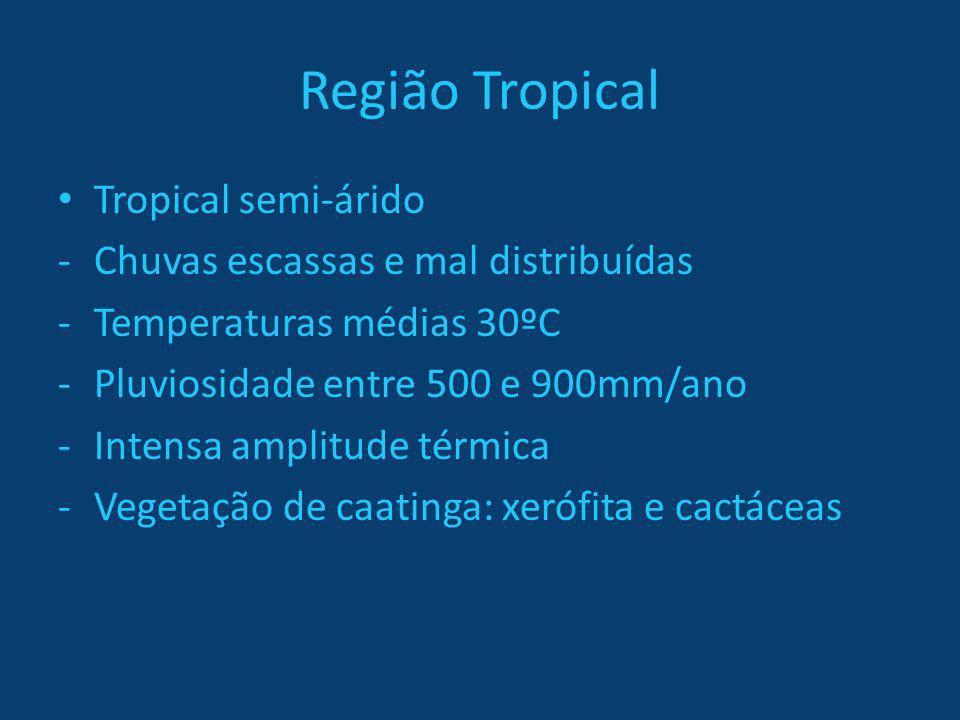 Região Tropical Tropical semi-árido -Chuvas escassas e mal distribuídas -Temperaturas médias 30ºC -Pluviosidade entre 500 e 900mm/ano -Intensa amplitu