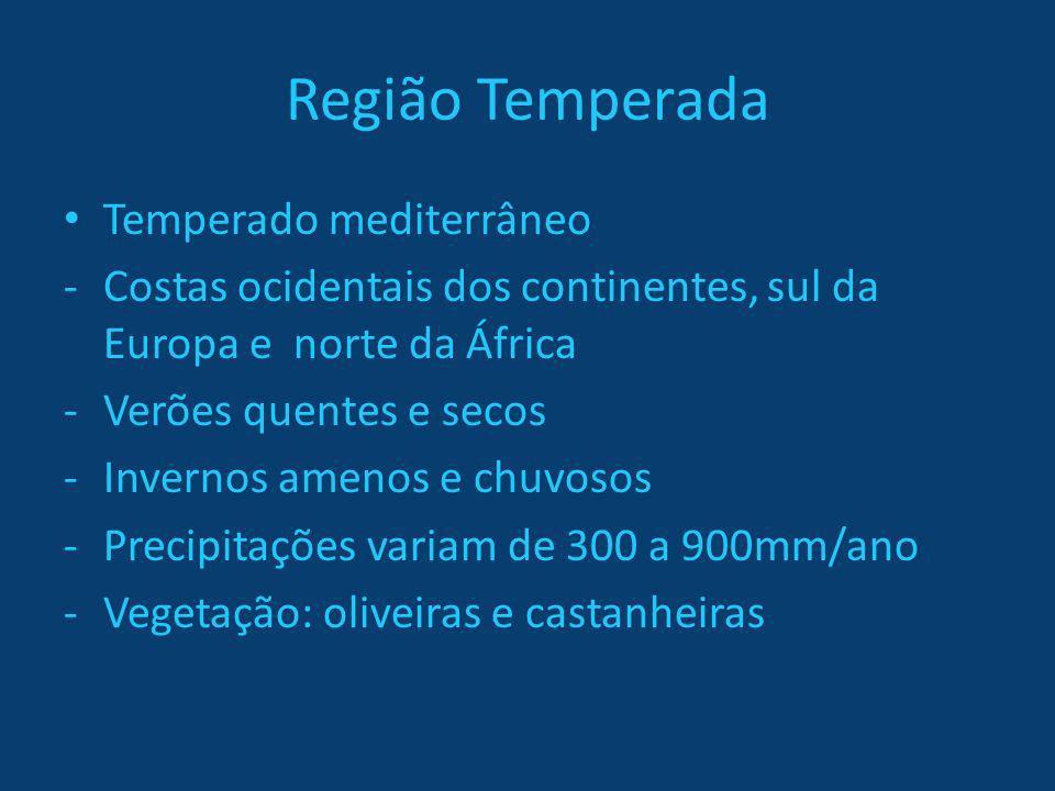 Região Temperada Temperado mediterrâneo -Costas ocidentais dos continentes, sul da Europa e norte da África -Verões quentes e secos -Invernos amenos e