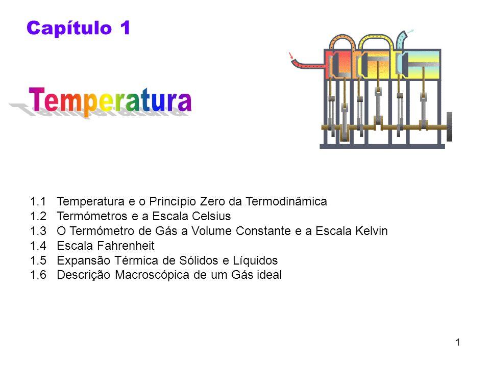 1 Capítulo 1 1.1 Temperatura e o Princípio Zero da Termodinâmica 1.2 Termómetros e a Escala Celsius 1.3 O Termómetro de Gás a Volume Constante e a Esc