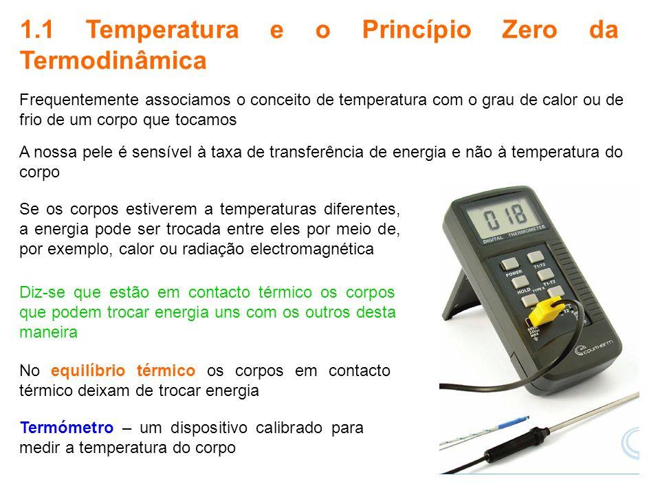 5 1.1 Temperatura e o Princípio Zero da Termodinâmica Se os corpos estiverem a temperaturas diferentes, a energia pode ser trocada entre eles por meio