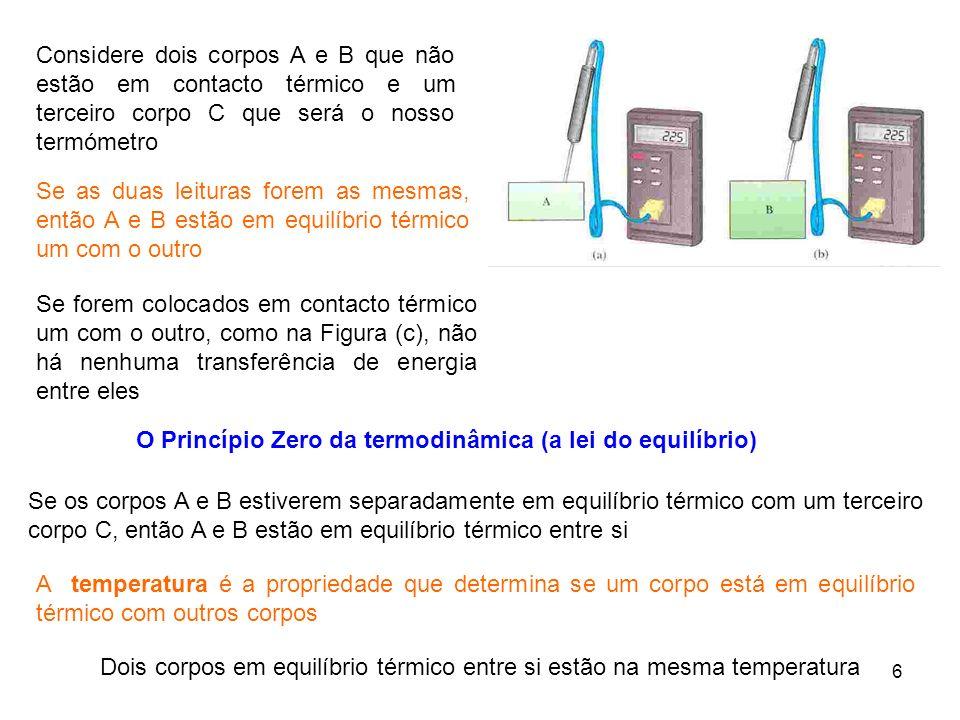 6 Se forem colocados em contacto térmico um com o outro, como na Figura (c), não há nenhuma transferência de energia entre eles O Princípio Zero da te