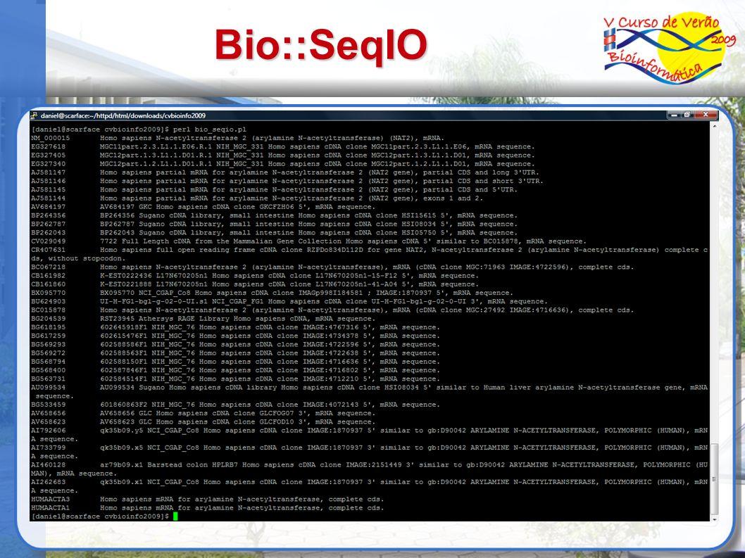 Bio::SeqIO use Bio::SeqIO; my $in = Bio::SeqIO->new( -file =>