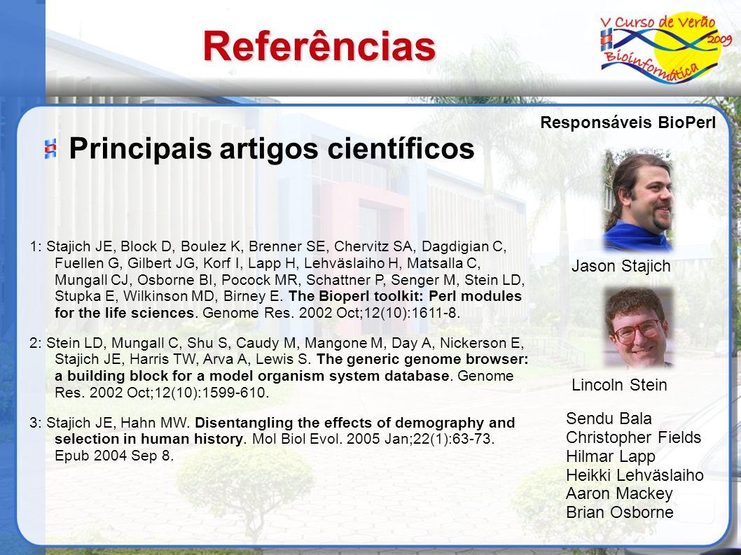 Referências 1: Stajich JE, Block D, Boulez K, Brenner SE, Chervitz SA, Dagdigian C, Fuellen G, Gilbert JG, Korf I, Lapp H, Lehväslaiho H, Matsalla C,