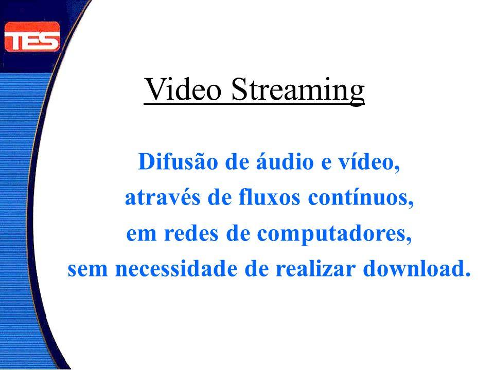 Video Streaming Difusão de áudio e vídeo, através de fluxos contínuos, em redes de computadores, sem necessidade de realizar download.