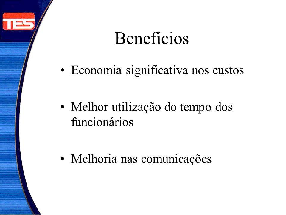Benefícios Economia significativa nos custos Melhor utilização do tempo dos funcionários Melhoria nas comunicações