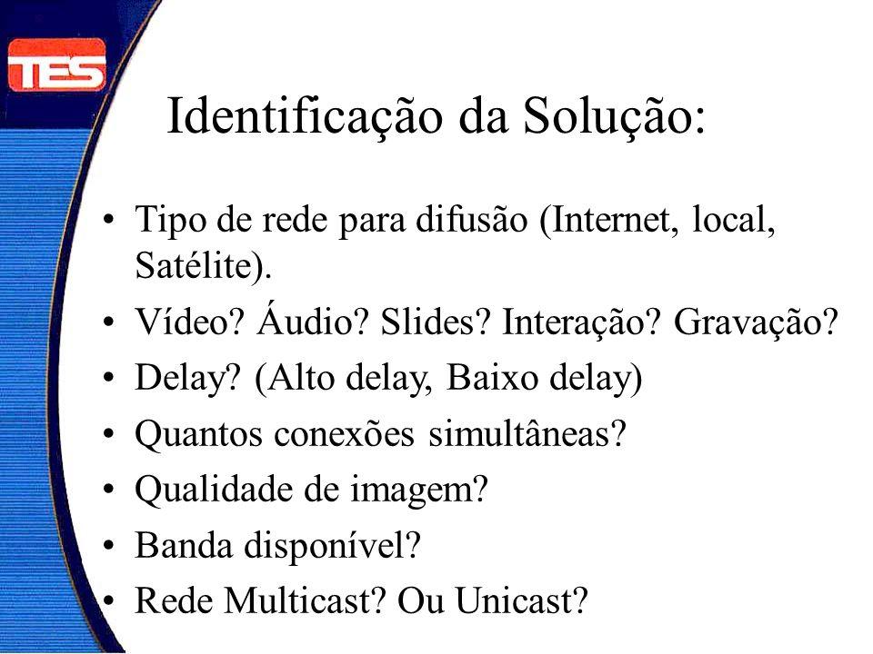Identificação da Solução: Tipo de rede para difusão (Internet, local, Satélite). Vídeo? Áudio? Slides? Interação? Gravação? Delay? (Alto delay, Baixo