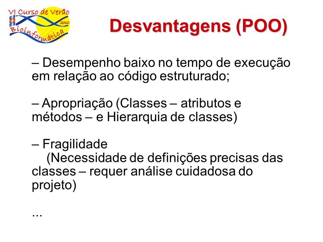 Desvantagens (POO) – Desempenho baixo no tempo de execução em relação ao código estruturado; – Apropriação (Classes – atributos e métodos – e Hierarqu