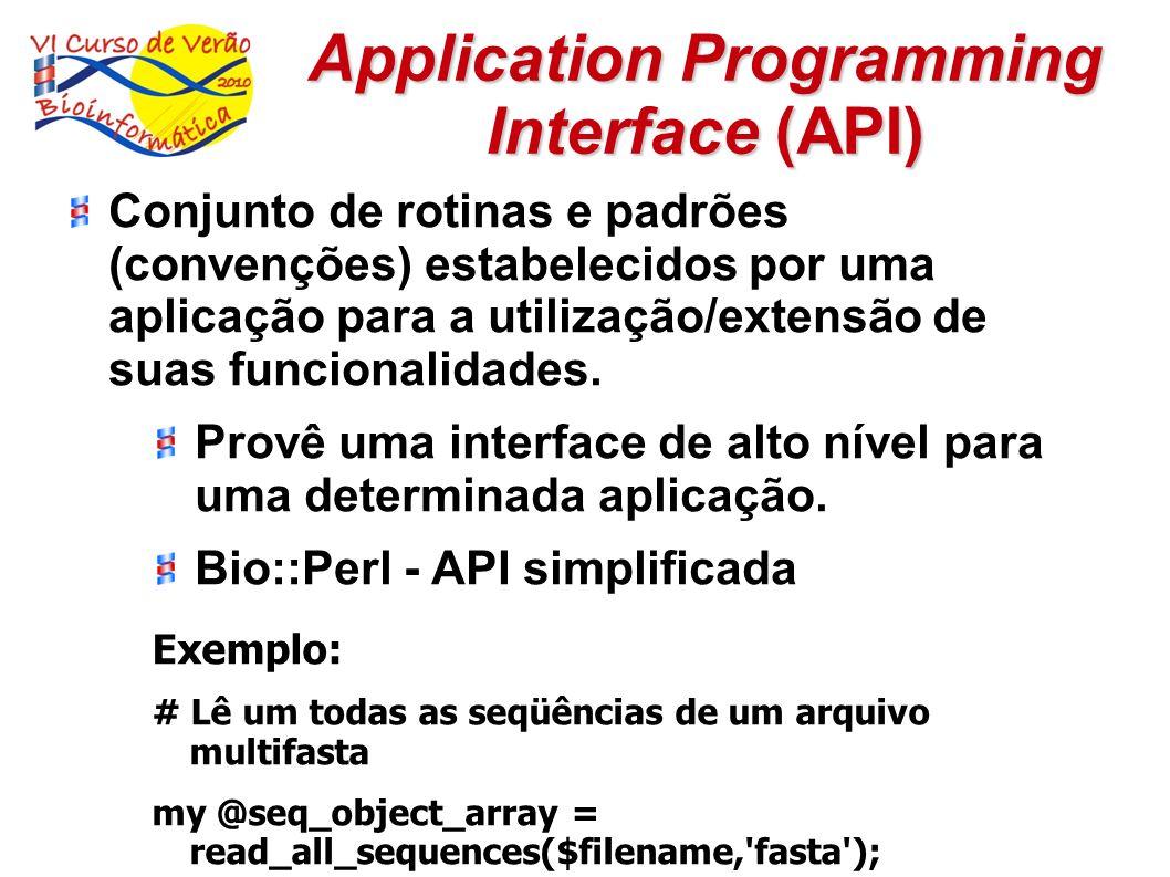 Application Programming Interface (API) Conjunto de rotinas e padrões (convenções) estabelecidos por uma aplicação para a utilização/extensão de suas