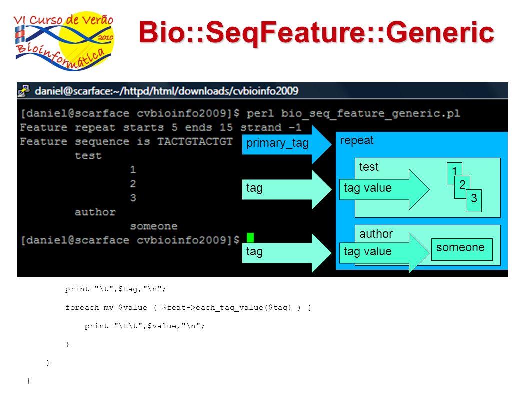Bio::SeqFeature::Generic use Bio::Seq; use Bio::SeqFeature::Generic; my $seqobj = Bio::Seq->new(-display_id => 'my_id', -seq => 'ACGTACAGTACAGTACTAGAA