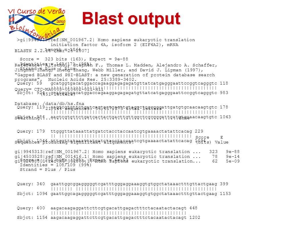Blast output BLASTN 2.2.16 [Mar-25-2007] Reference: Altschul, Stephen F., Thomas L. Madden, Alejandro A. Schaffer, Jinghui Zhang, Zheng Zhang, Webb Mi