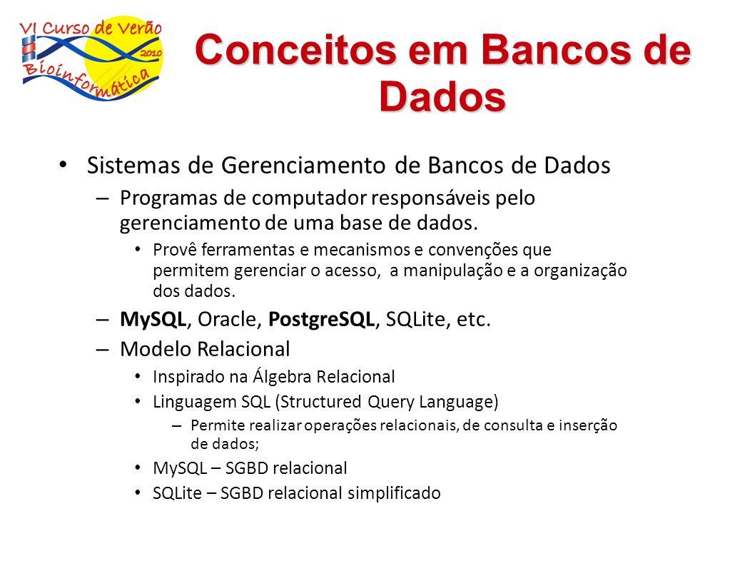 Sistemas de Gerenciamento de Bancos de Dados – Programas de computador responsáveis pelo gerenciamento de uma base de dados. Provê ferramentas e mecan