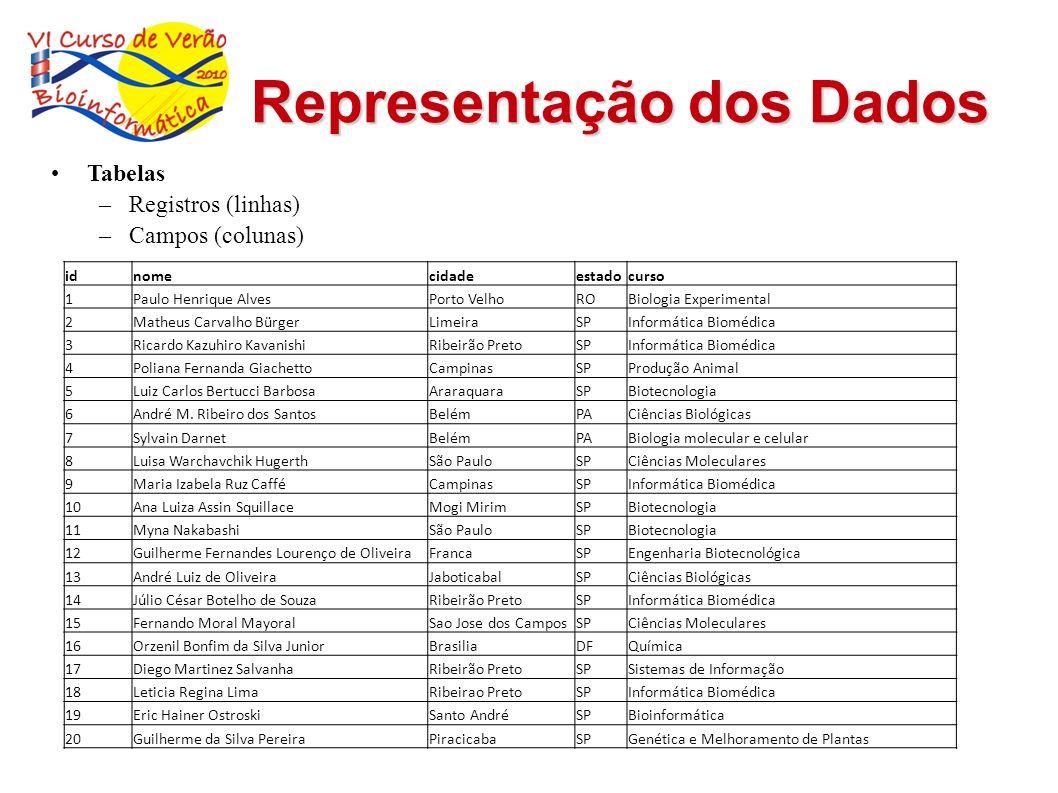 Representação dos Dados Tabelas –Registros (linhas) –Campos (colunas) idnomecidadeestadocurso 1Paulo Henrique AlvesPorto VelhoROBiologia Experimental