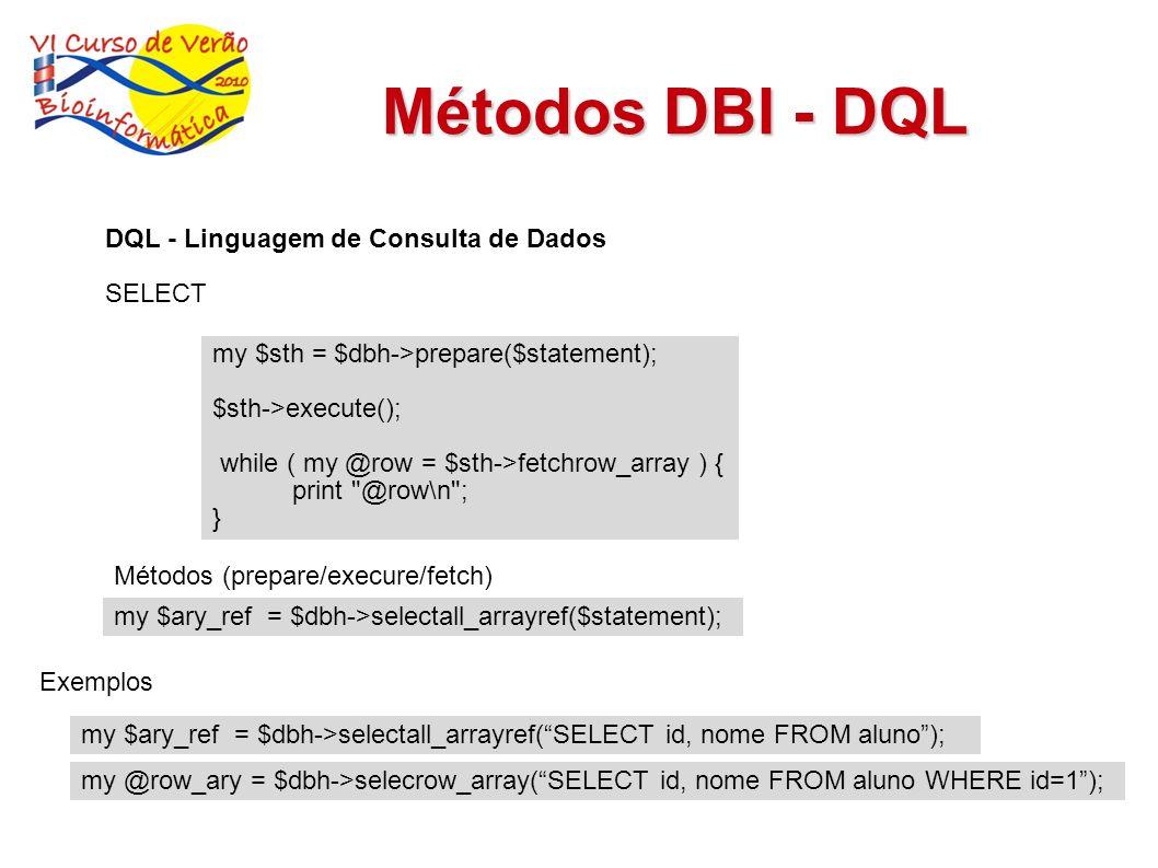 Métodos DBI - DQL DQL - Linguagem de Consulta de Dados SELECT Métodos (prepare/execure/fetch) my $sth = $dbh->prepare($statement); $sth->execute(); wh