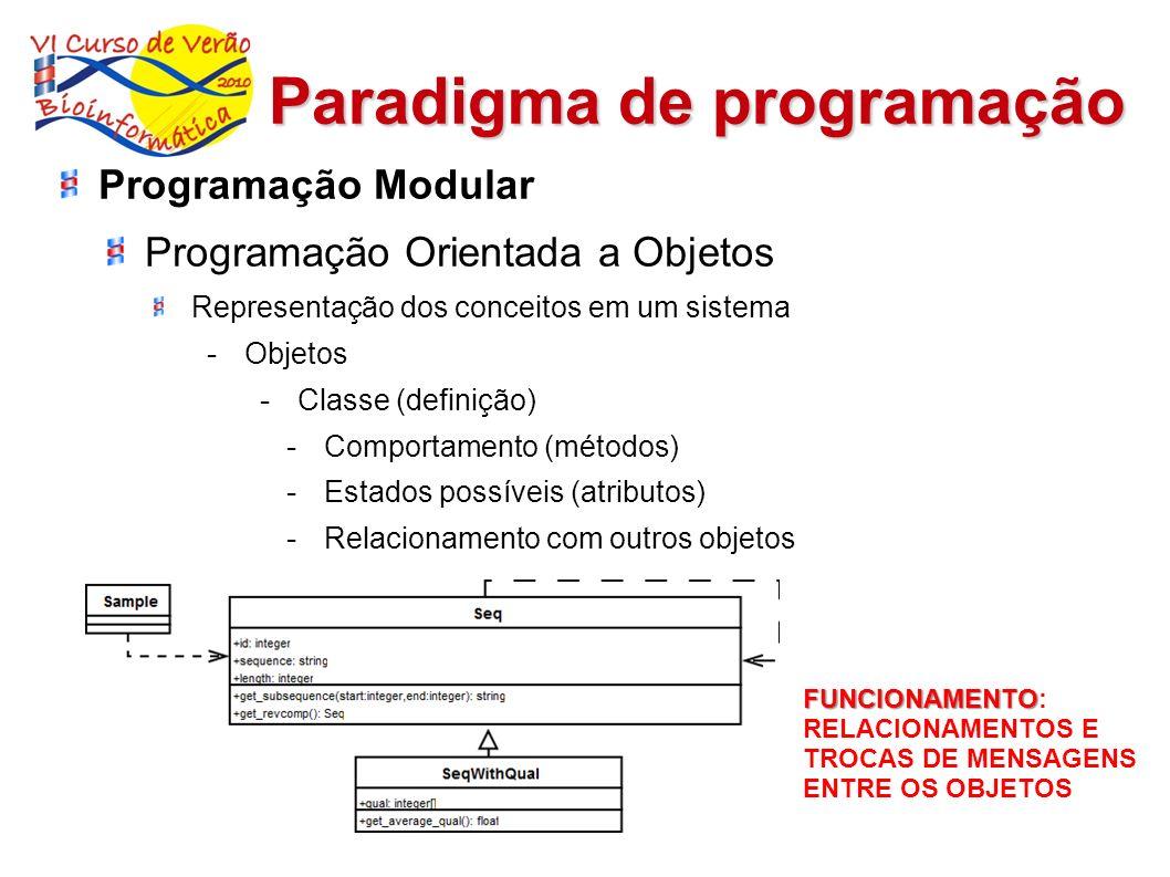 Paradigma de programação FUNCIONAMENTO FUNCIONAMENTO: RELACIONAMENTOS E TROCAS DE MENSAGENS ENTRE OS OBJETOS Programação Modular Programação Orientada
