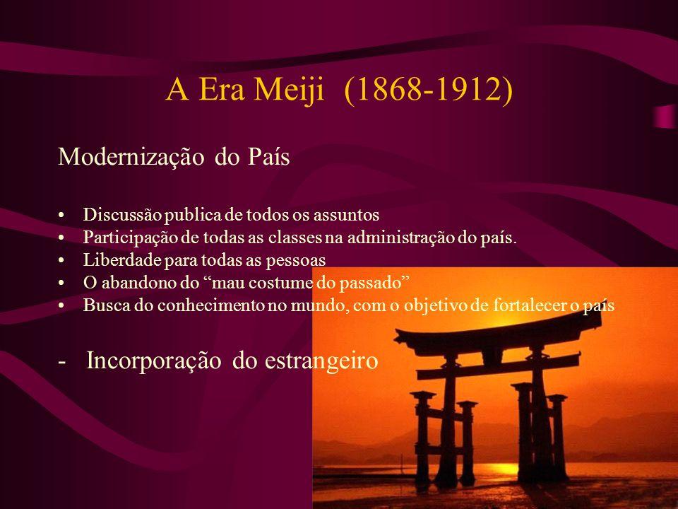 A Era Meiji (1868-1912) Modernização do País Discussão publica de todos os assuntos Participação de todas as classes na administração do país. Liberda