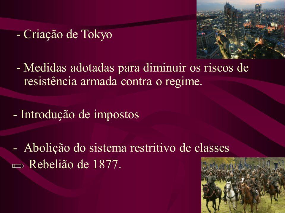 - Criação de Tokyo - Medidas adotadas para diminuir os riscos de resistência armada contra o regime. - Introdução de impostos -Abolição do sistema res