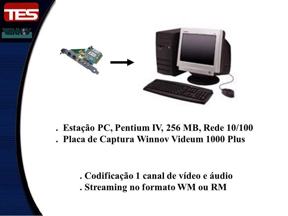 . Estação PC, Pentium IV, 256 MB, Rede 10/100. Placa de Captura Winnov Videum 1000 Plus. Codificação 1 canal de vídeo e áudio. Streaming no formato WM