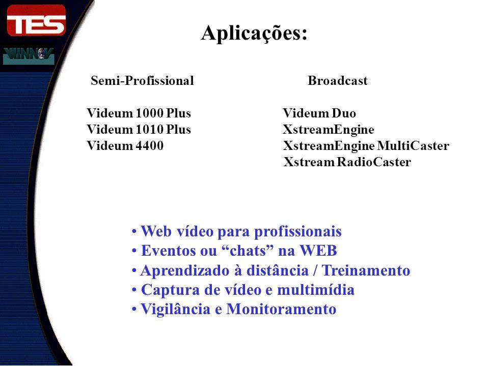 Aplicações: Videum 1000 Plus Videum Duo Videum 1010 Plus XstreamEngine Videum 4400 XstreamEngine MultiCaster Xstream RadioCaster Semi-Profissional Broadcast Web vídeo para profissionais Eventos ou chats na WEB Aprendizado à distância / Treinamento Captura de vídeo e multimídia Vigilância e Monitoramento