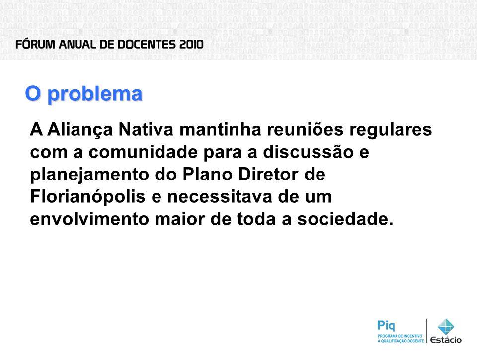 O problema A Aliança Nativa mantinha reuniões regulares com a comunidade para a discussão e planejamento do Plano Diretor de Florianópolis e necessita